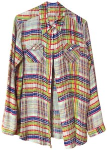 CAbi Color-blocking Print Summer Cirque Shirt Button Down Shirt Red, blue, mustard yellow plaid on a cream background