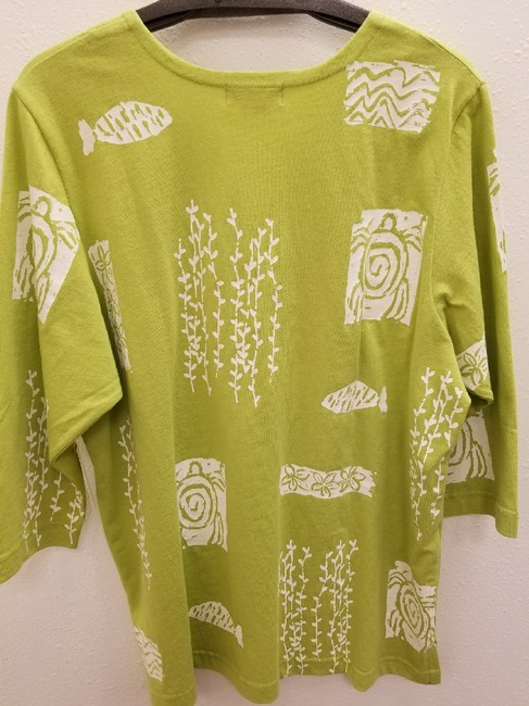 m.mac Cotton Casual 3/4 Sleeve Print V-neck Tunic