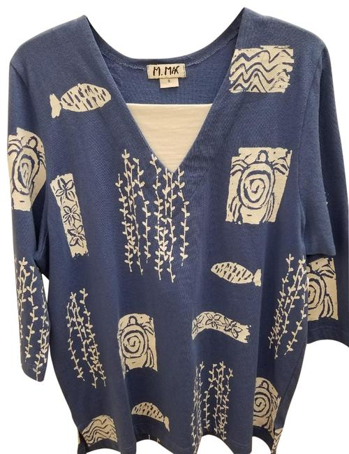 M.Mac Cotton Casual Print V-neck 3/4 Sleeve Tunic