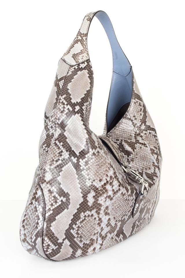 83f5fa7d7d13 Fabulous Gucci Jackie Soft Grey Python Skin Leather Hobo Bag - Tradesy HH88