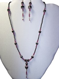 Handmade Handmade Necklace and Earring Set, Swarovski Beads, Black/Fuschia/Light Rose