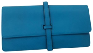 Annabel Ingall Leyla Clutch Turquoise Pebbled Leather