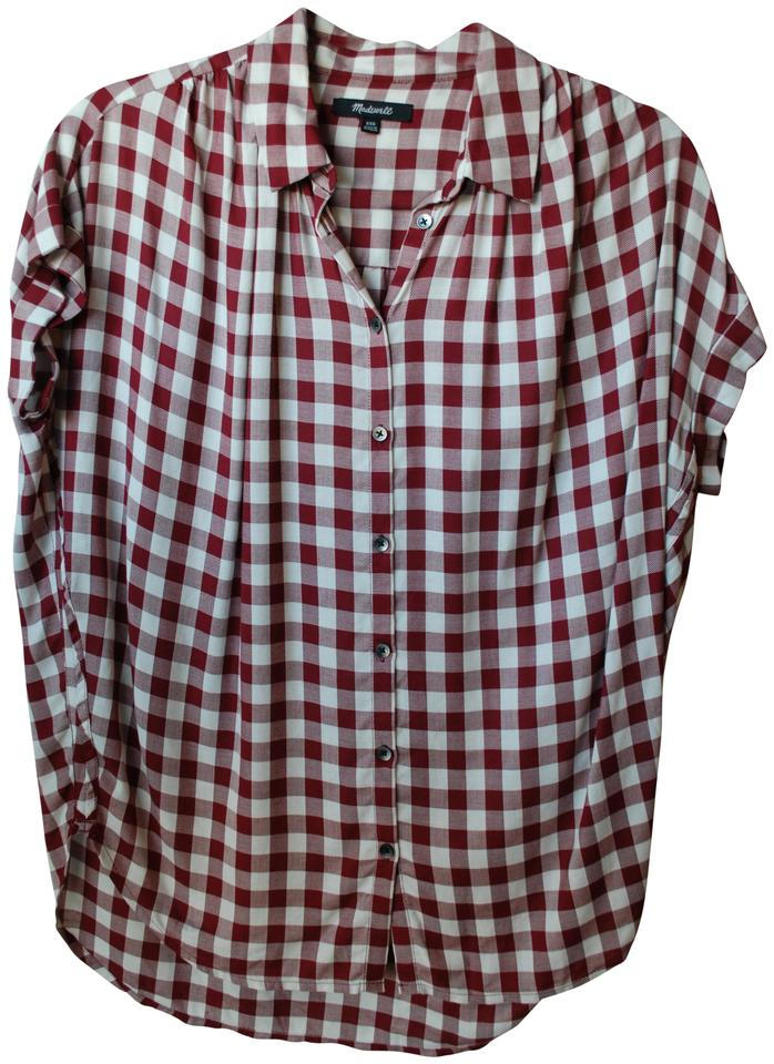 Madewell red and white gingham courier blouse button down for Red and white button down shirt