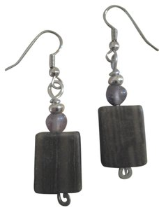 Handmade NEW Handmade Genuine Gemstone WOOD AGATE Rectangle Lavender Amethyst EARRINGS Buy3get1Free SALE