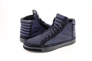 Gucci Blue * Suede Leather Studs Lace-up Hi Top Sneaker Shoes