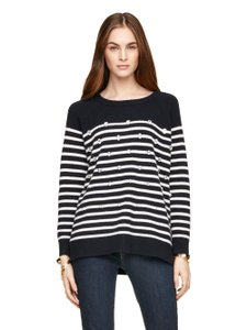 Kate Spade Knit Stretchy Striped Embellished Fitted Sweater