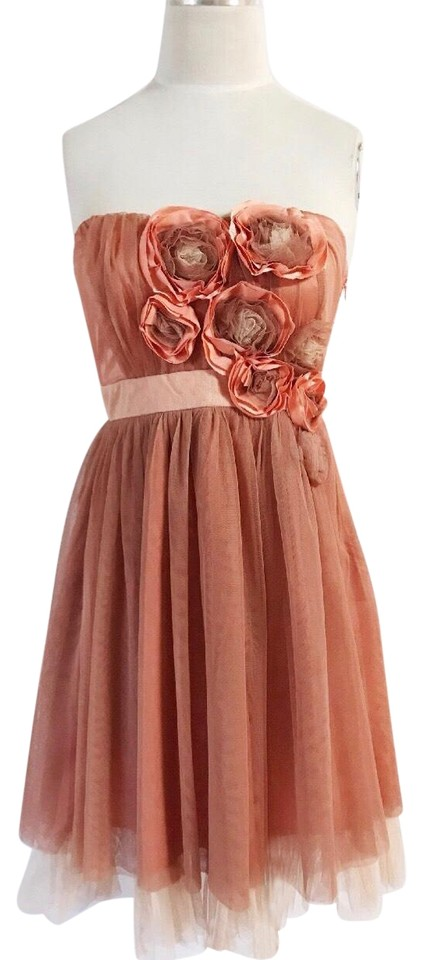 Ryu Coral 3d Flower Tulle Cocktail Wedding Bridesmaids Short Formal