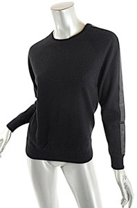 Autumn Cashmere Bergdorf Goodman Leather Trim Sweater