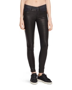 Rag & Bone Leather Stretchy Fitted Skinny Jeans-Dark Rinse