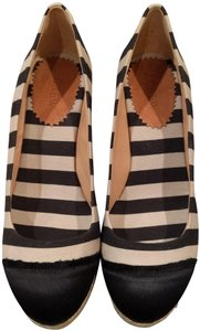 J.Crew black and natural Wedges
