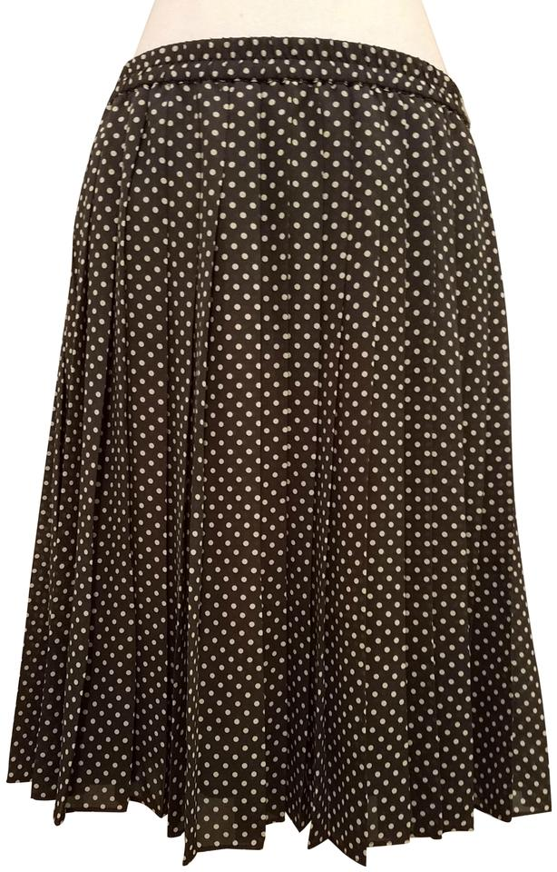 f75e6974c5 Chaus Gray Polka Dot Pleated Cream Above Knee 1950s Skirt Size 14 (L ...