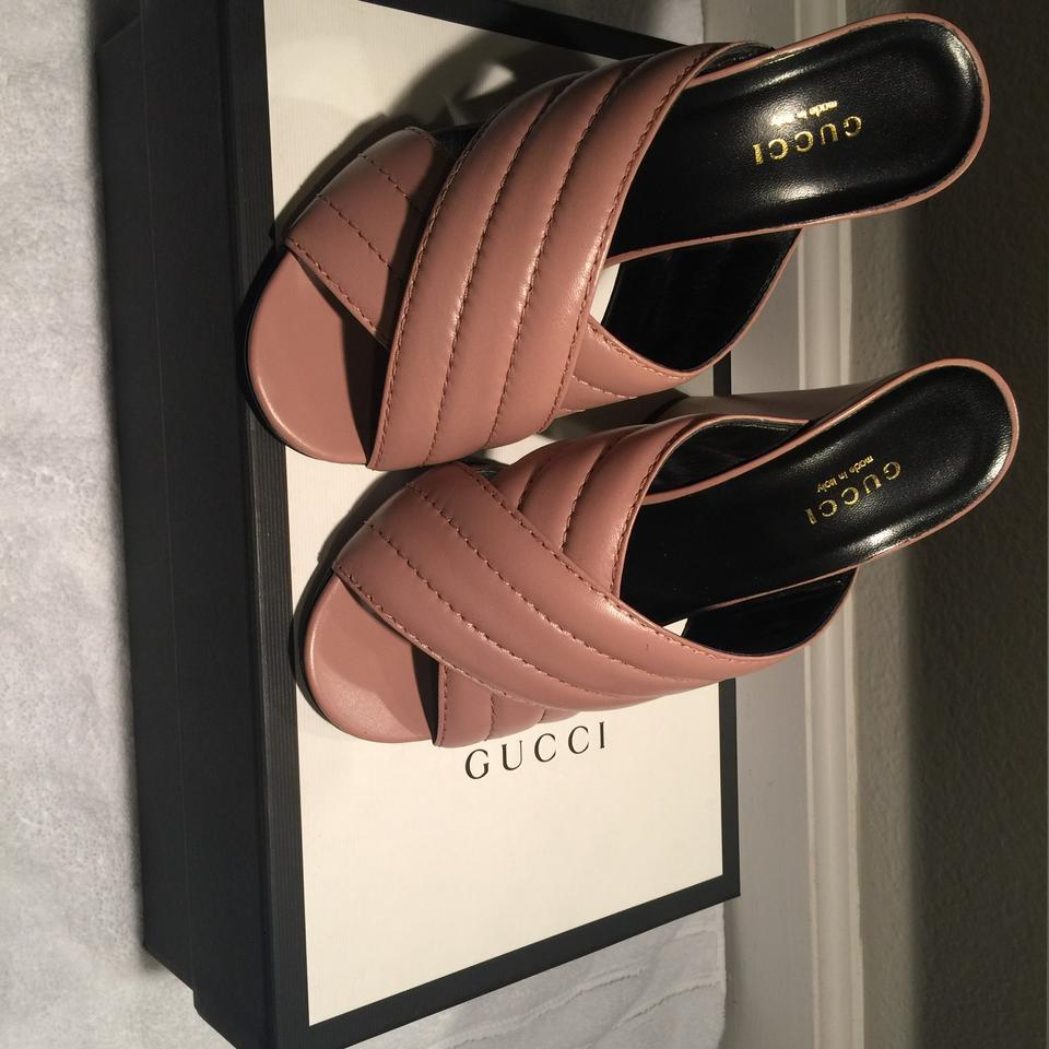 5c7e4eb8 Gucci Pink Rose Webby Crisscross Leather Mules/Slides Size EU 37 (Approx.  US 7) Regular (M, B) 42% off retail