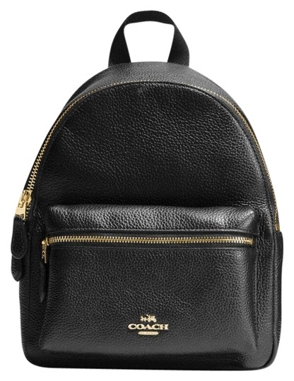 mini-charlie-pebble-black-leather-backpack by coach 027087f8a8262