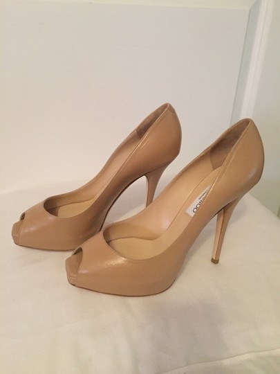 Jimmy Choo Leather Comet Platform Heels Nude Beige Pumps