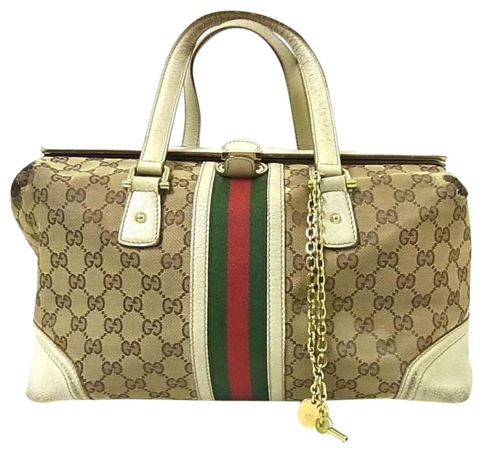 86f3a89699c4 Gucci Equestrian Accents Clasp W Fob Mint Condition Rare Jolicoeur Style  Canvas/White Satchel in ...