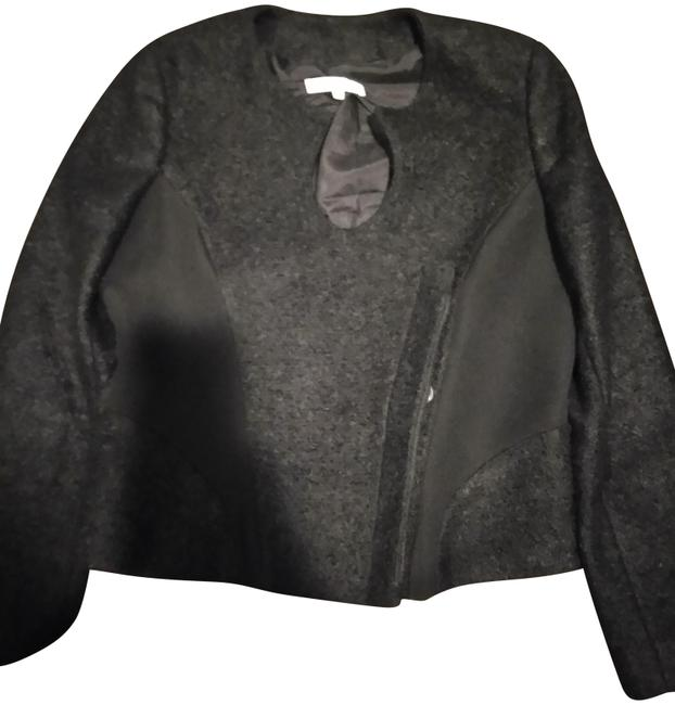 Item - Charcoal Grey Made In Italy 48 Two Texture Wool Jacket Size 12 (L)