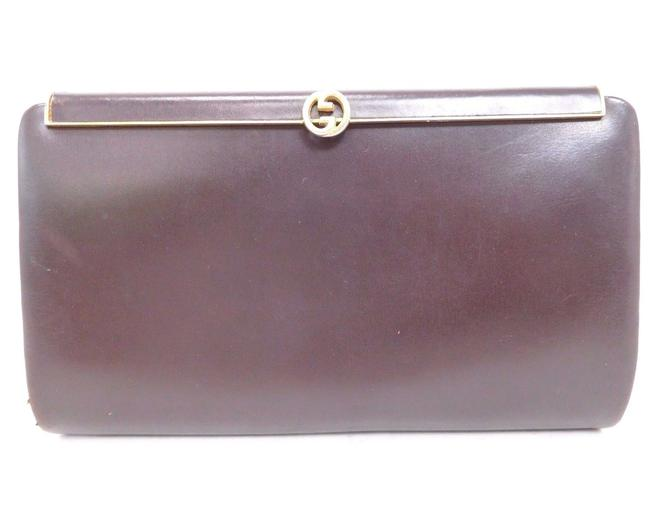 Item - 1973 W Gold Gg Hinged Top Clasp Chocolate Brown Leather Clutch