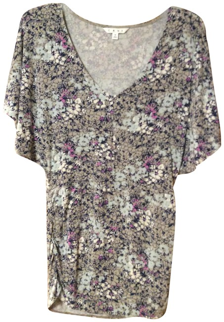 Item - Gray Powder Blue Navy and Cream Floral Style 301 Tunic Size 10 (M)