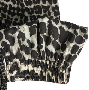 Whistles Silk Leopard Print Safari Relaxed Trouser Pants Black, brown and white