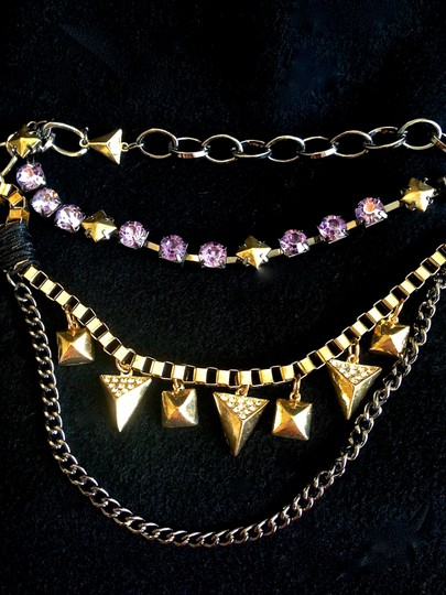 Steve Madden Silver-Tone Purple Crystal and Gold-Tone Bead Frontal Necklace