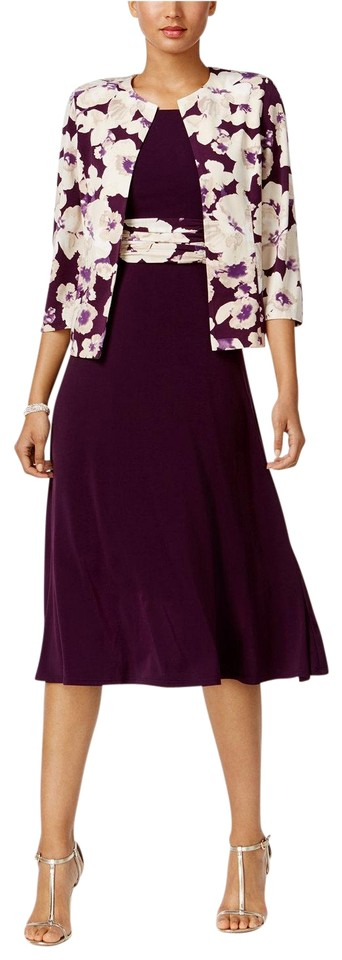 f836562826f45 Jessica Howard Plum Floral-print-contrast and Jacket Mid-length ...