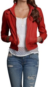 Abercrombie & Fitch Cafe Racer Leather Biker Bomber Petite Red Jacket