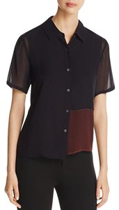 DKNY Button Down Shirt Black over a burnt red