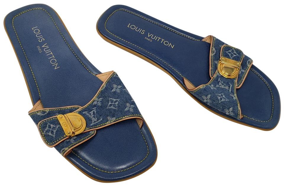 fce5f2462 Louis Vuitton Blue Tan Leather Denim Lv Monogram Slide Sandals. Size  EU ...