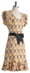 Modcloth short dress beige, tan, natural, red, green, yellow Print Flower Christmas Evening Gown on Tradesy