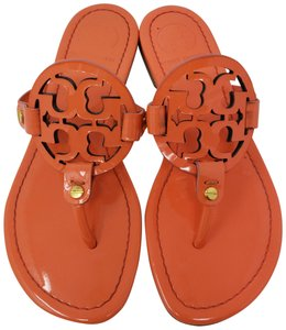 Tory Burch Miller Reva Logo Gold Hardware Patent Leather Orange Sandals