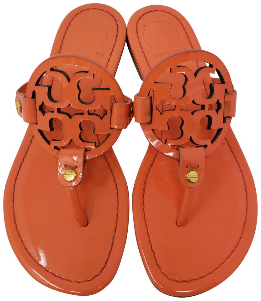 1c908b7b3448bc Tory Burch Miller Reva Logo Gold Hardware Patent Leather Orange Sandals  Image 0 ...