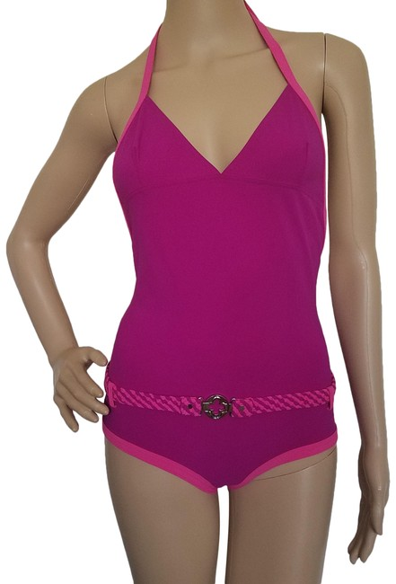 Item - Pink Purple Gold Magenta Halter Belted Swimsuit One-piece Bathing Suit Size 4 (S)