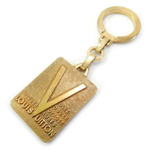 Louis Vuitton ( RARE VINTAGE ) Gold Plated LV Tag Key Ring Bag Charm Accessory 86515