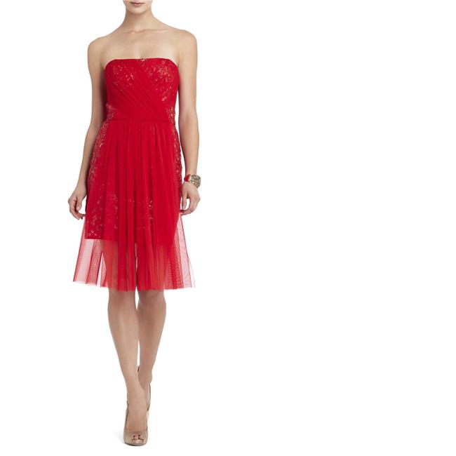 Item - Red Strapless Sequin Tulle Overlay Vienna Short Formal Dress Size 4 (S)