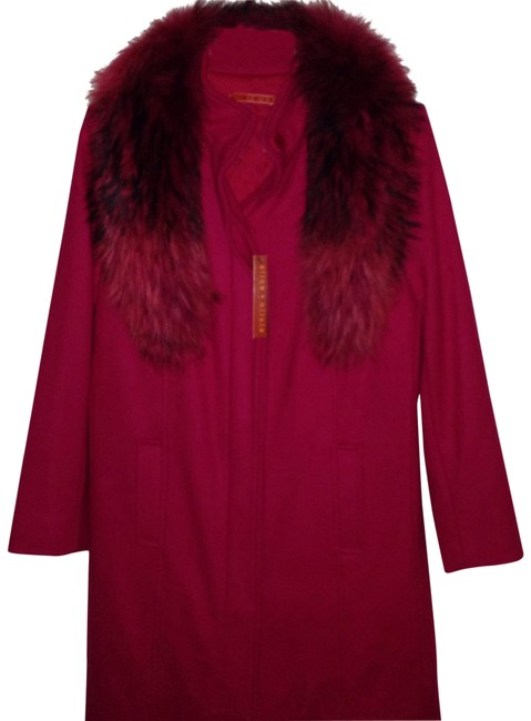 Item - Berry Punch Moss Genuine Raccoon Fur Collar Long Tailored Coat Size 4 (S)