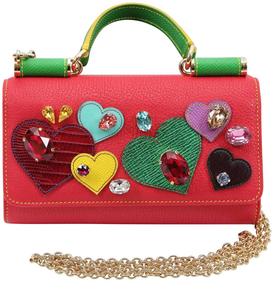 2fa617144e Dolce Gabbana Dolce   Gabbana St Valentine Mini Von Clutch Red Leather  Cross Body Bag