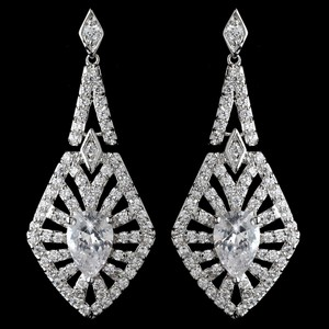 Elégance Decadent Rhodium Plated Cz Wedding Earrings
