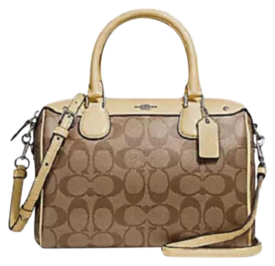 acd75f7d9e53e Coach Bennett F58312 Signature Pvc Mini Handbag Purse Sv Khaik Vanilla  Canvas Satchel