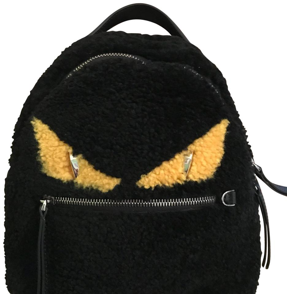 f675da5611b1 Fendi Mini Monster Black Gold Spanish Shearling Backpack - Tradesy