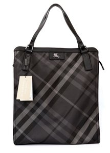 Burberry Carry All Shoulder Checkered Tote in Charcoal