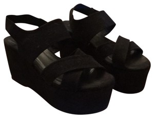 ElyseWalker Los Angeles black suede Sandals