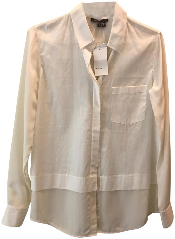 2a1f253eff3b2 Vince White Silk and Cotton Panel Shirt Button-down Top Size 2 (XS ...