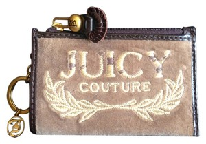 Juicy Couture Juicy Couture Tan Velvet/Cowhide Trim Keychain-Wallet