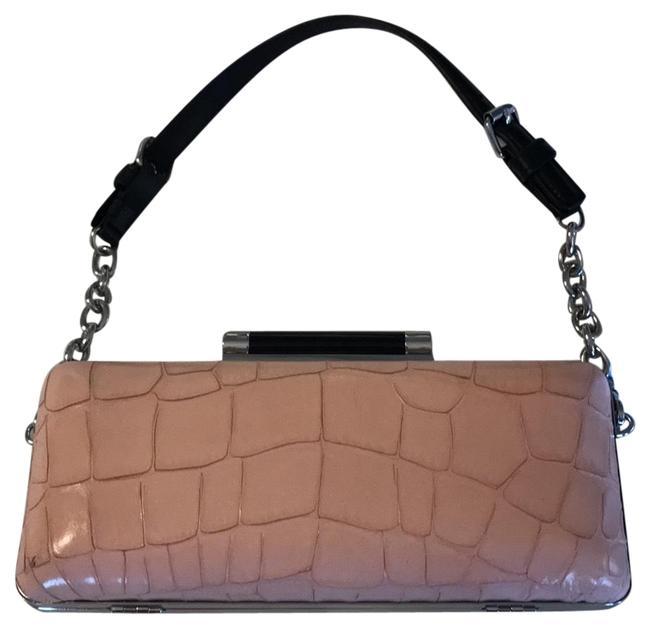 Item - Tonda Stripped Pink Abs Gray Colorblock Snakeskin Leather Clutch