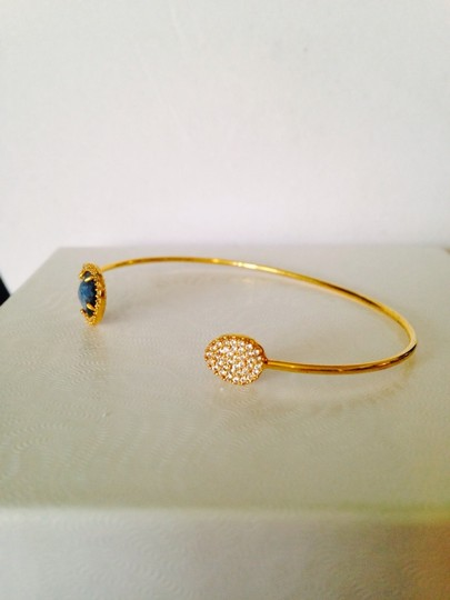 Tai NWOT Faceted Sapphire & White Crystal Pave In 14kt Gold-Plated Sterling Pinch Bracelet