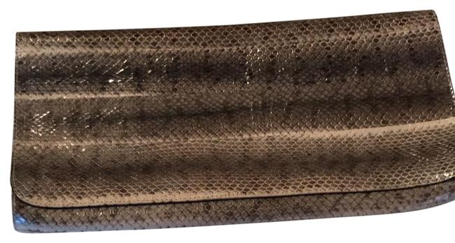 Item - Grey and Black Snakeskin Leather Clutch