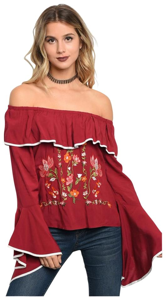 249286f86321 Wine New Off Shoulder Embroidery Bell Sleeve Tunic Size 6 (S) - Tradesy