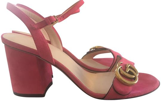 Gucci Pink Marmont Gg Suede Block Women S 3 Sandals Size