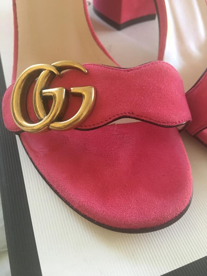 5a5b13081f6d Gucci Pink Marmont Gg Suede Block Women s 37 7 Sandals Size US 7 ...