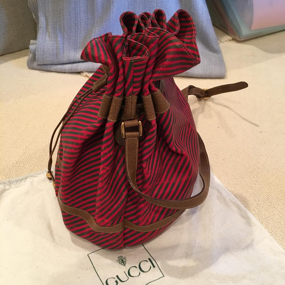 Gucci Green and Red Stripe Leather Rare Vintage Bucket Bag ...